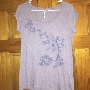 Lilac Textured Flower T-shirt